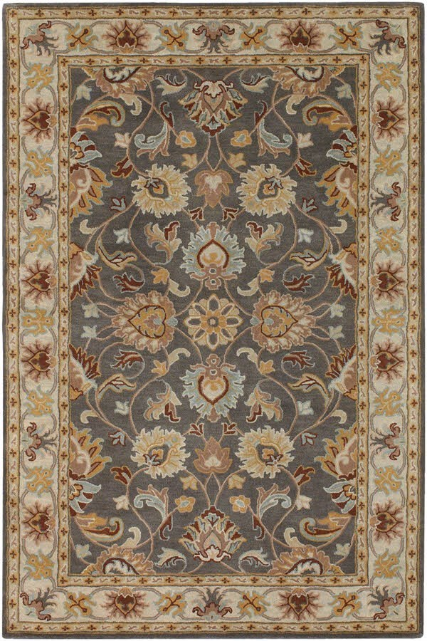 Charcoal, Khaki, Bright Yellow, Taupe Traditional / Oriental Area Rug