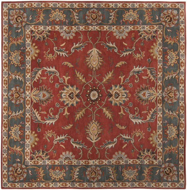 Rust, Charcoal, Mustard, Dark Brown Traditional / Oriental Area Rug