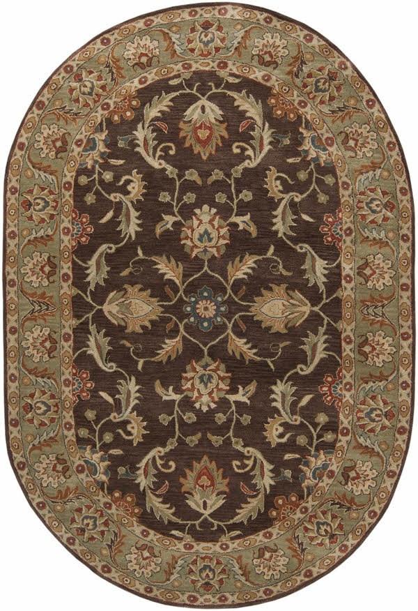 Dark Brown, Burnt Orange, Tan, Charcoal Traditional / Oriental Area Rug