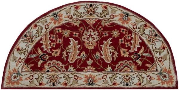 Dark Red, Cream, Burnt Orange, Black Traditional / Oriental Area Rug