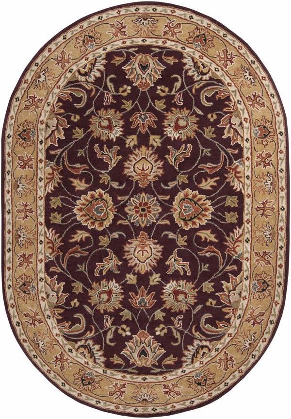 Burgundy, Khaki, Dark Red, Charcoal, Tan Traditional / Oriental Area Rug