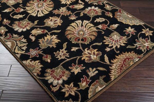 Black, Beige, Dark Brown, Dark Red Traditional / Oriental Area Rug
