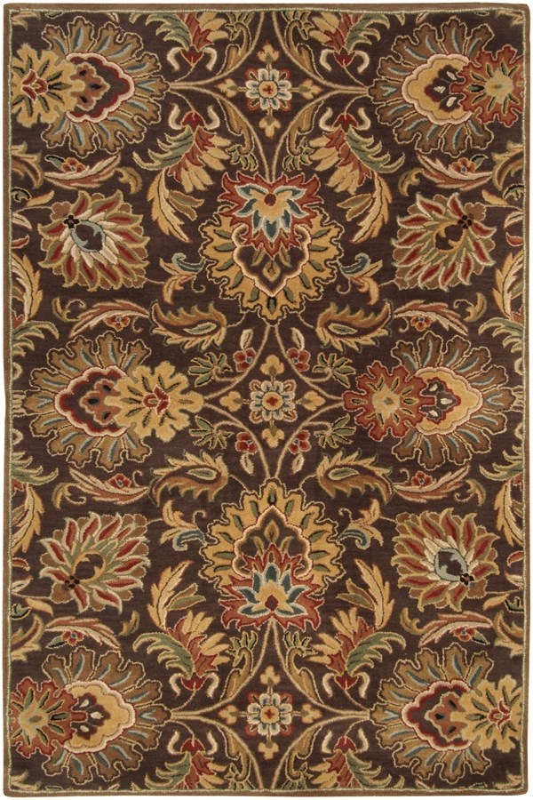 Dark Brown, Garnet, Camel, Wheat, Black Traditional / Oriental Area Rug