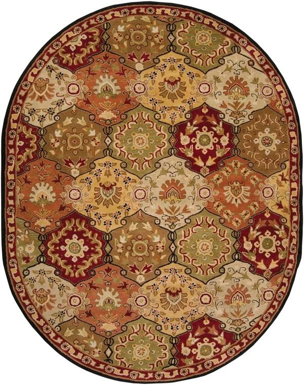 Camel, Garnet, Black, Dark Brown Traditional / Oriental Area Rug