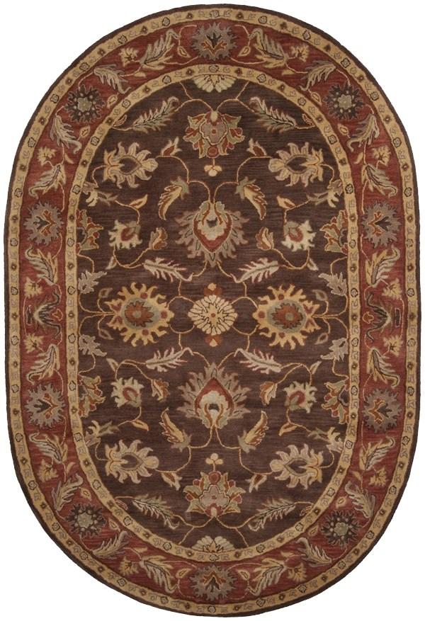 Dark Brown, Camel, Khaki, Tan Traditional / Oriental Area Rug