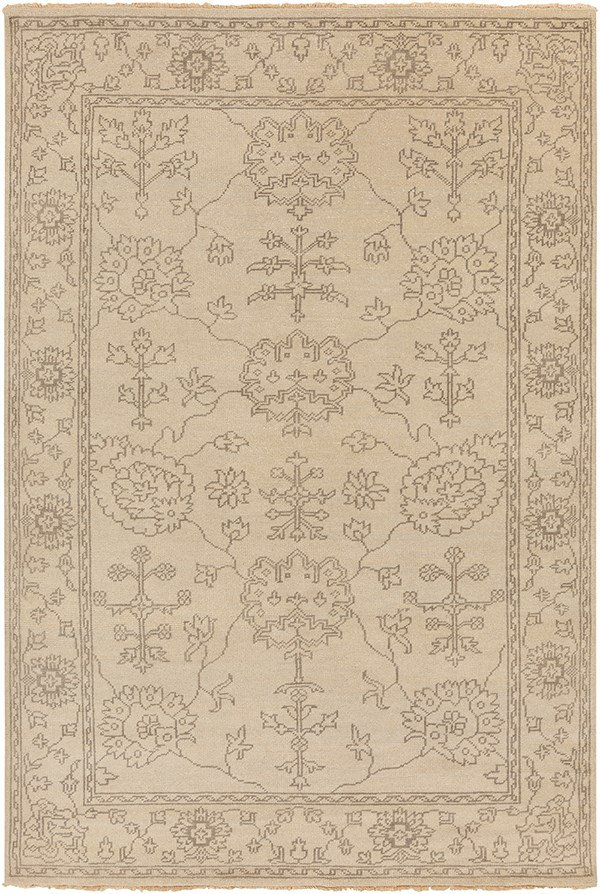 Khaki, Charcoal Traditional / Oriental Area Rug