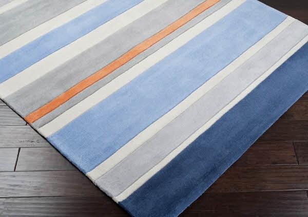 Gray, Light Blue, Light Gray, Ivory Striped Area Rug