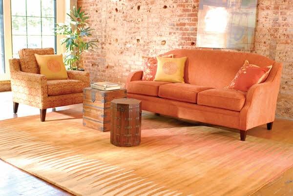 Brown, Orange Contemporary / Modern Area Rug