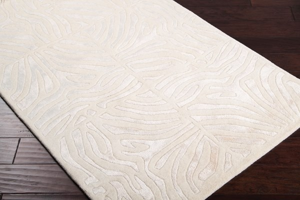 Ivory, White Contemporary / Modern Area Rug