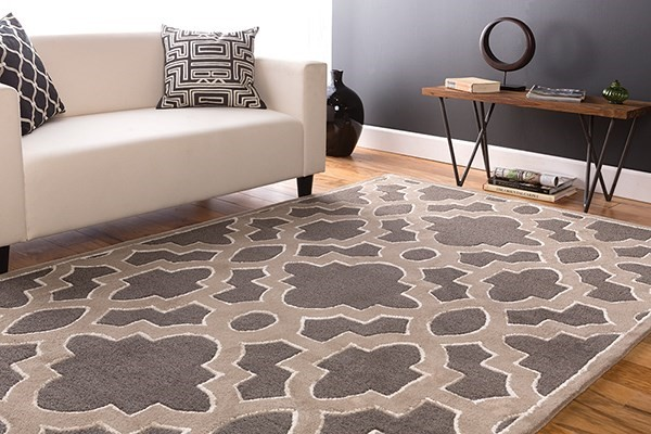 Charcoal, Light Gray, Ivory Contemporary / Modern Area Rug