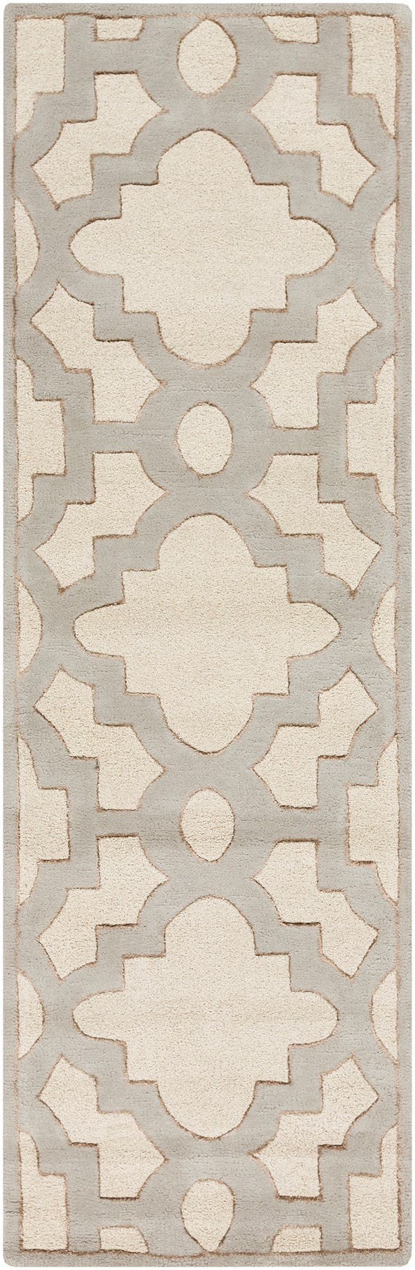 Cream, Medium Gray, Tan Moroccan Area Rug