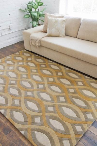 Gold, Sage  Contemporary / Modern Area Rug