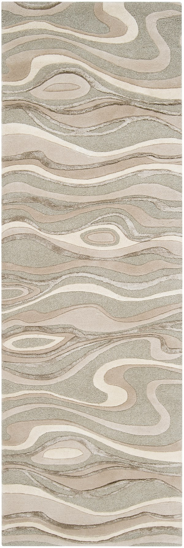 Sage Green, Ivory, White, Taupe Contemporary / Modern Area Rug