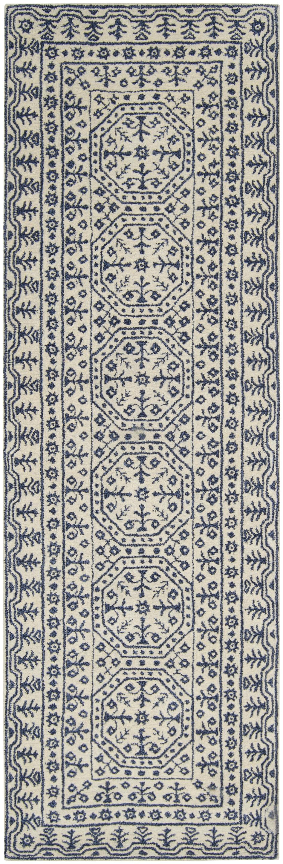 Navy, Beige Traditional / Oriental Area Rug