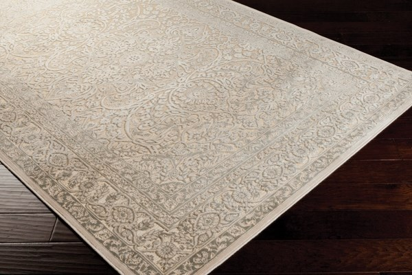 Camel, Parchment, Light Gray Traditional / Oriental Area Rug
