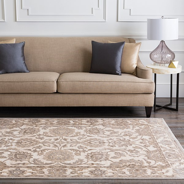 Feather Gray, Taupe, Parchment Traditional / Oriental Area Rug