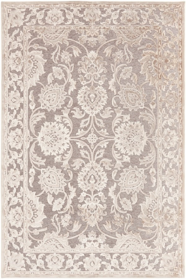 Parchment, Feather Gray, Gray Traditional / Oriental Area Rug