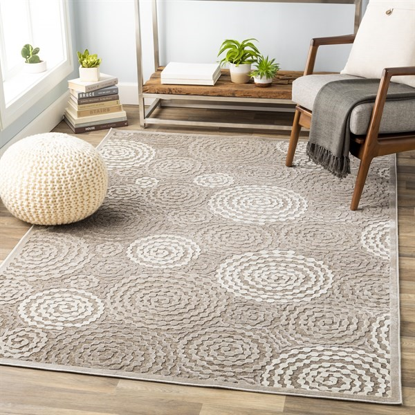 Taupe, Beige Contemporary / Modern Area Rug