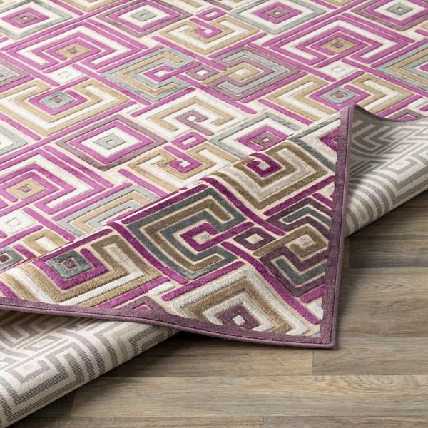 Beige, Butter, Medium Grey, Mauve, Purple Contemporary / Modern Area Rug