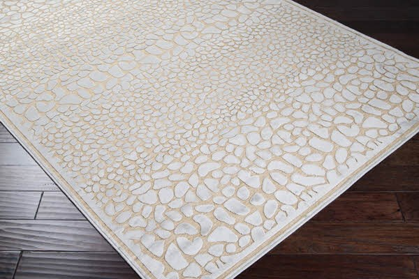 Taupe, Light Blue Transitional Area Rug