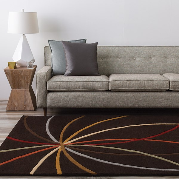 Chocolate, Gold Contemporary / Modern Area Rug