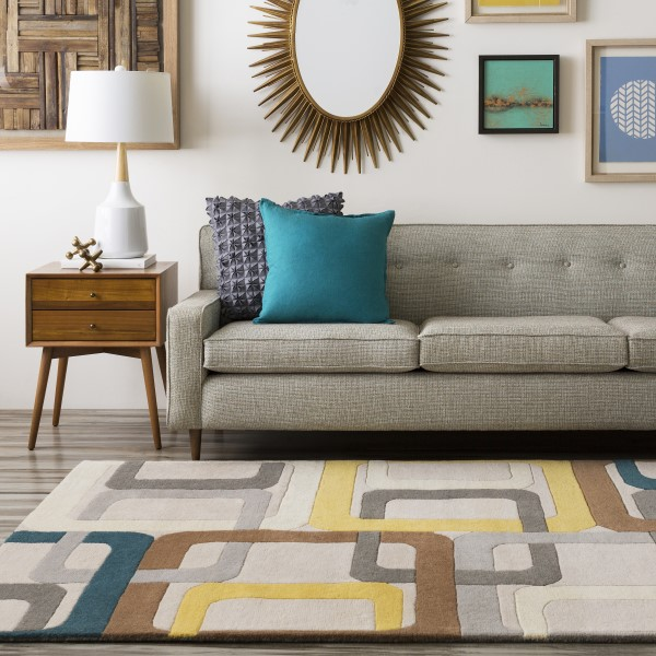 Flint Gray, Teal Blue, Gold Contemporary / Modern Area Rug
