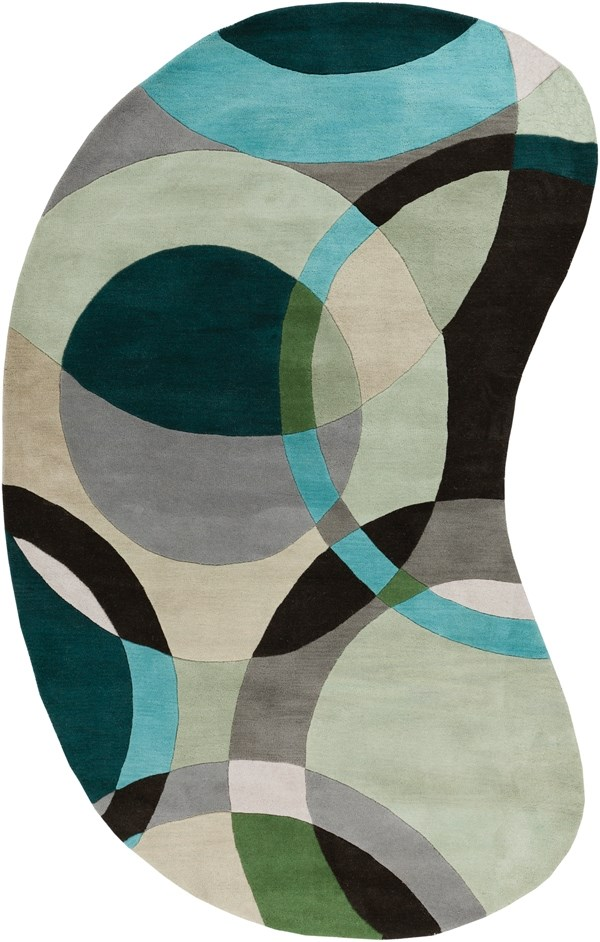 Black Olive, Teal Green, Dove Gray Contemporary / Modern Area Rug