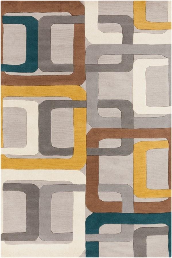 Flint Gray, Teal Blue, Gold Contemporary / Modern Area Rug