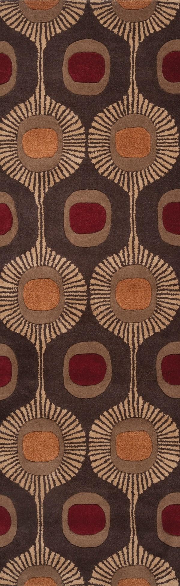 Dark Brown, Peanut Butter, Auburn Contemporary / Modern Area Rug