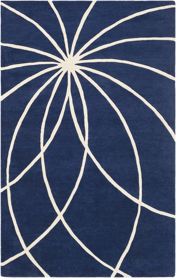 Dark Blue, Antique White Contemporary / Modern Area Rug