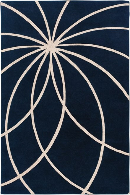Dark Blue, Antique White Contemporary / Modern Area Rug