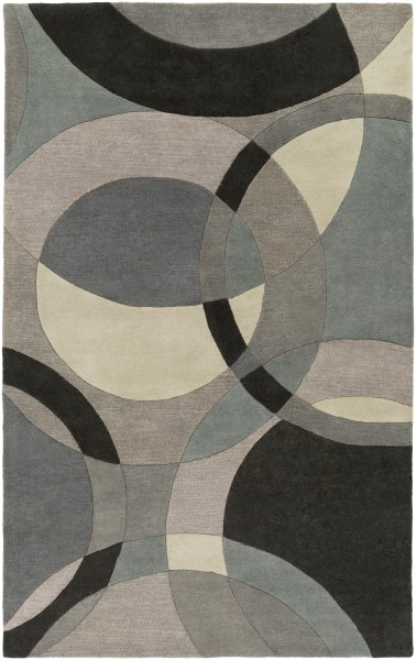 Charcoal, Black, Teal, Taupe, Khaki Contemporary / Modern Area Rug