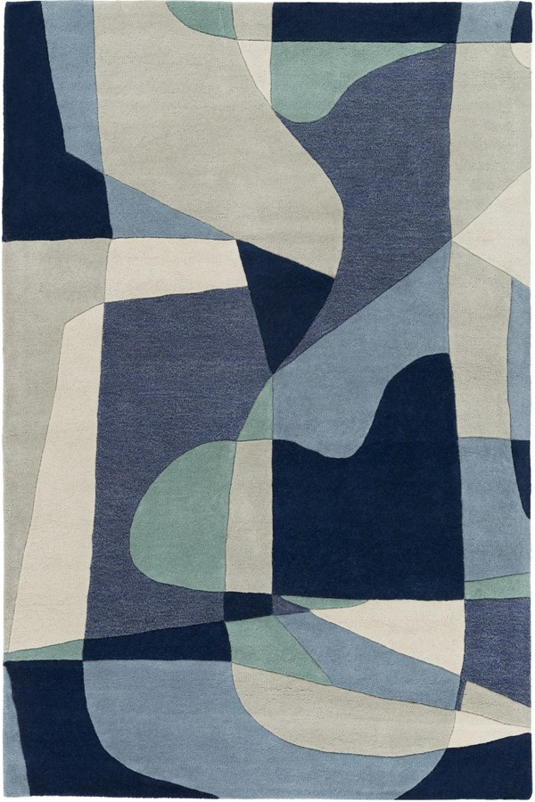 Denim, Teal, Navy, Ivory, Light Gray Contemporary / Modern Area Rug