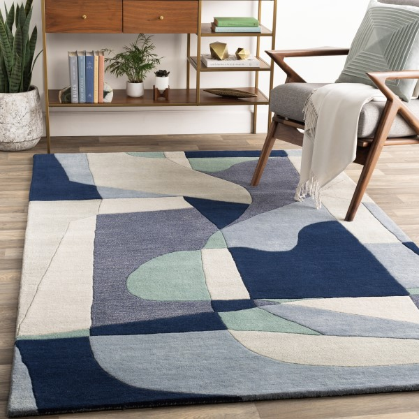 Denim, Teal, Navy Contemporary / Modern Area Rug