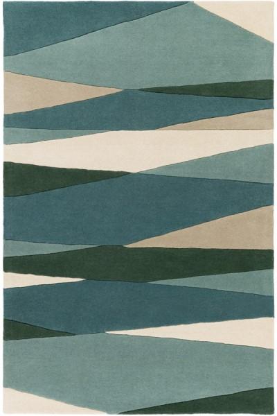 Dark Green, Teal, Tan Contemporary / Modern Area Rug
