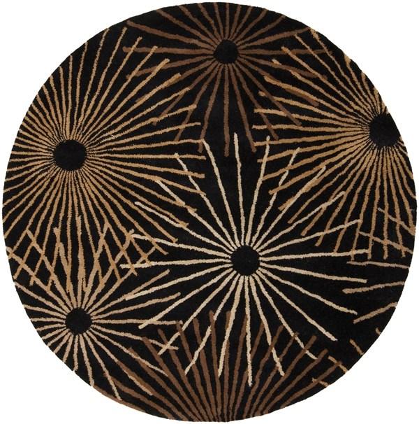 Black, Brown Contemporary / Modern Area Rug