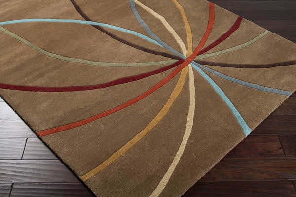 Mocha, Burgundy Contemporary / Modern Area Rug