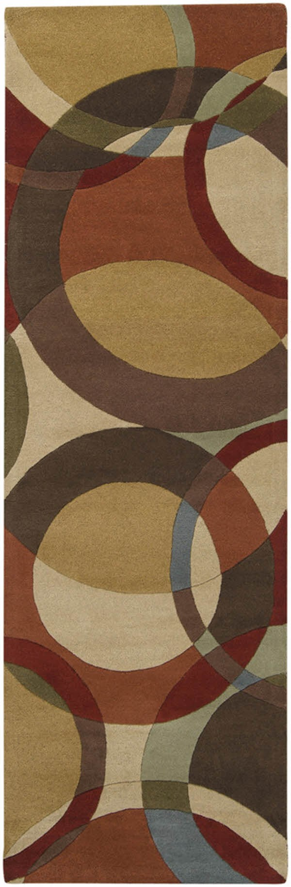 Chocolate, Gold, Red Geometric Area Rug