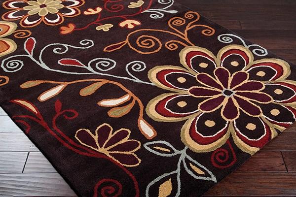Dark Brown, Rust, Burnt Orange, Camel Floral / Botanical Area Rug
