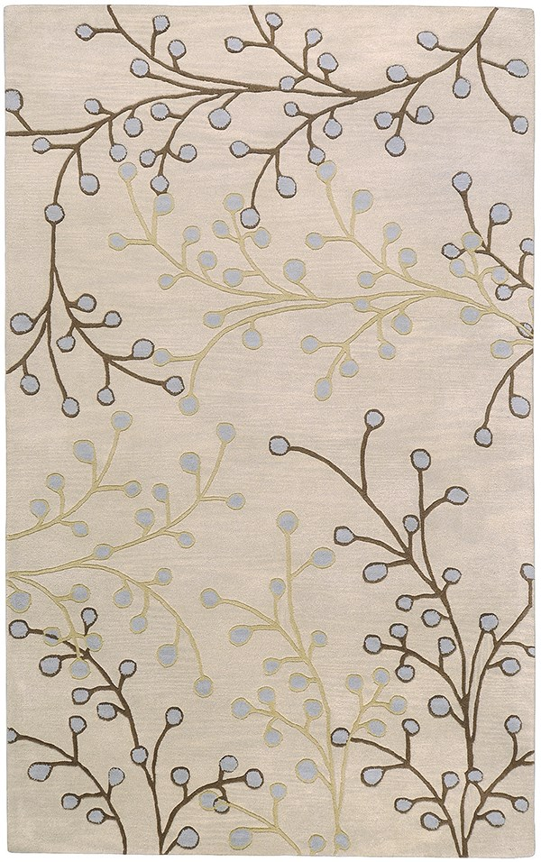 Taupe, Dark Brown, Camel, Medium Gray Floral / Botanical Area Rug