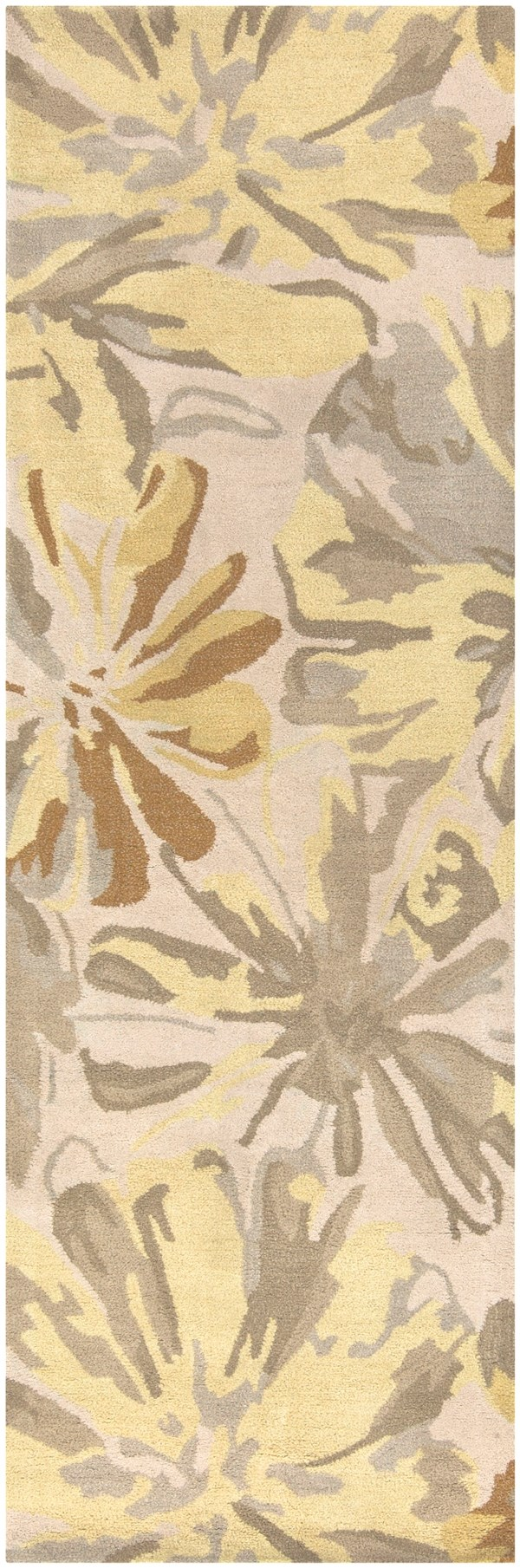 Ivory, Butter, Taupe, Lime Floral / Botanical Area Rug
