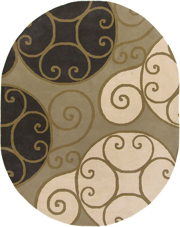 Khaki, Black, Camel, Dark Brown Contemporary / Modern Area Rug