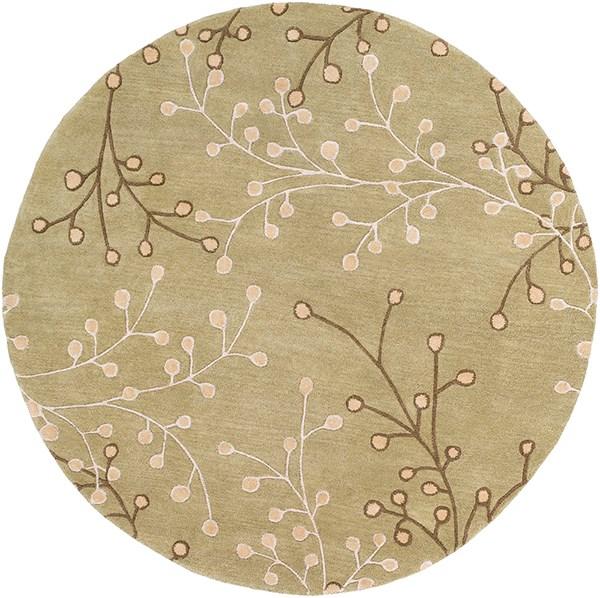 Tan, Taupe, Olive, Camel Floral / Botanical Area Rug