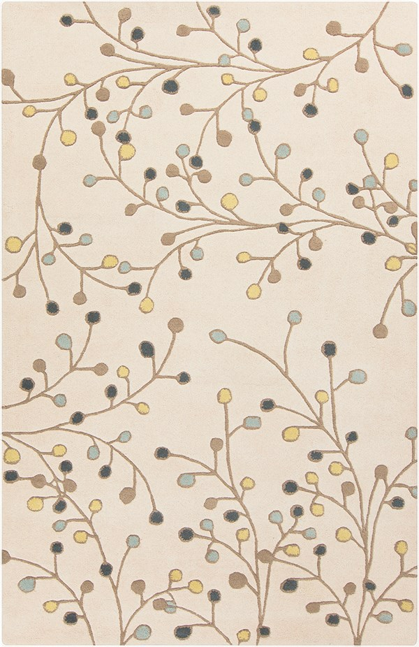 Khaki, Lime, Navy, Denim, Camel Floral / Botanical Area Rug