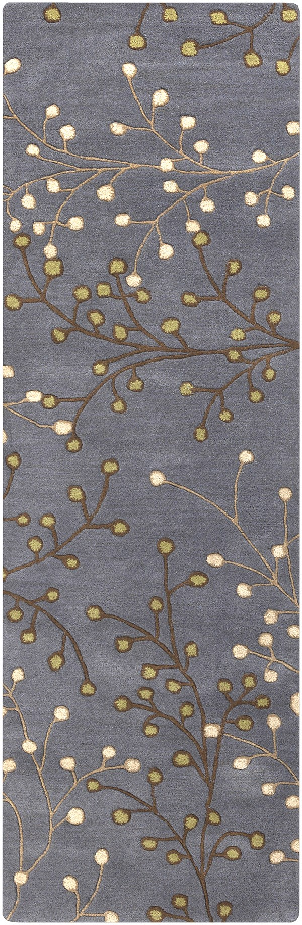 Navy, Dark Brown, Tan, Beige, Green Floral / Botanical Area Rug