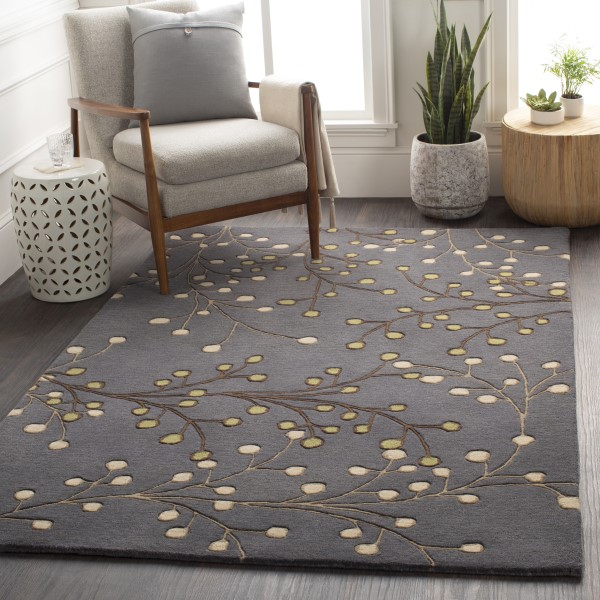 Navy, Dark Brown, Tan, Beige, Green Floral / Botanical Area Rug