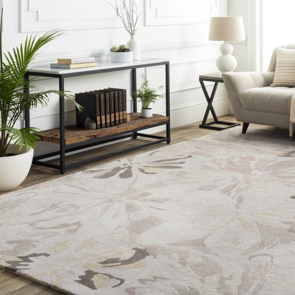 Taupe, Charcoal, Light Gray, Camel Floral / Botanical Area Rug