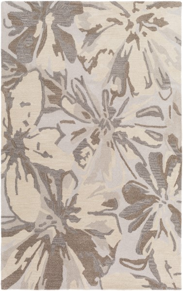 Light Gray, Khaki, Dark Brown, Beige Floral / Botanical Area Rug