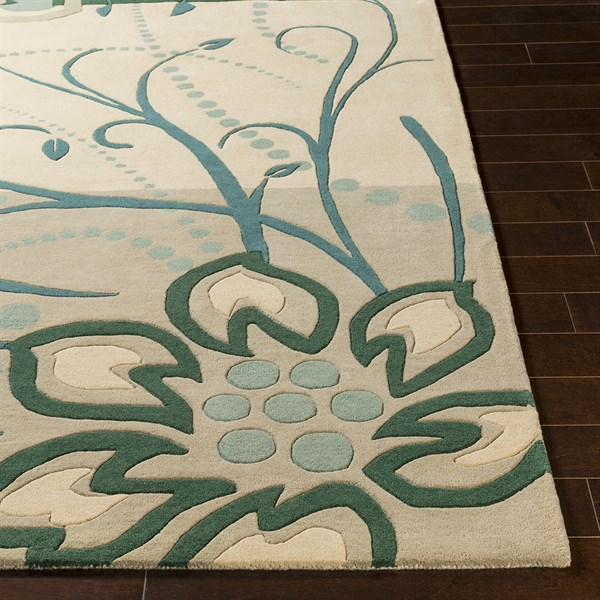 Green, Teal, Cream Floral / Botanical Area Rug