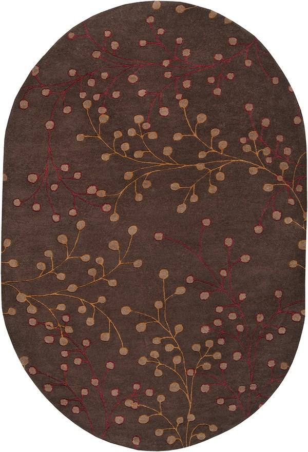 Dark Brown, Dark Red, Camel Floral / Botanical Area Rug